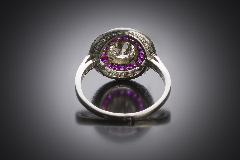 Bague Art déco diamants (centre 0,80 carat) rubis calibrés-2