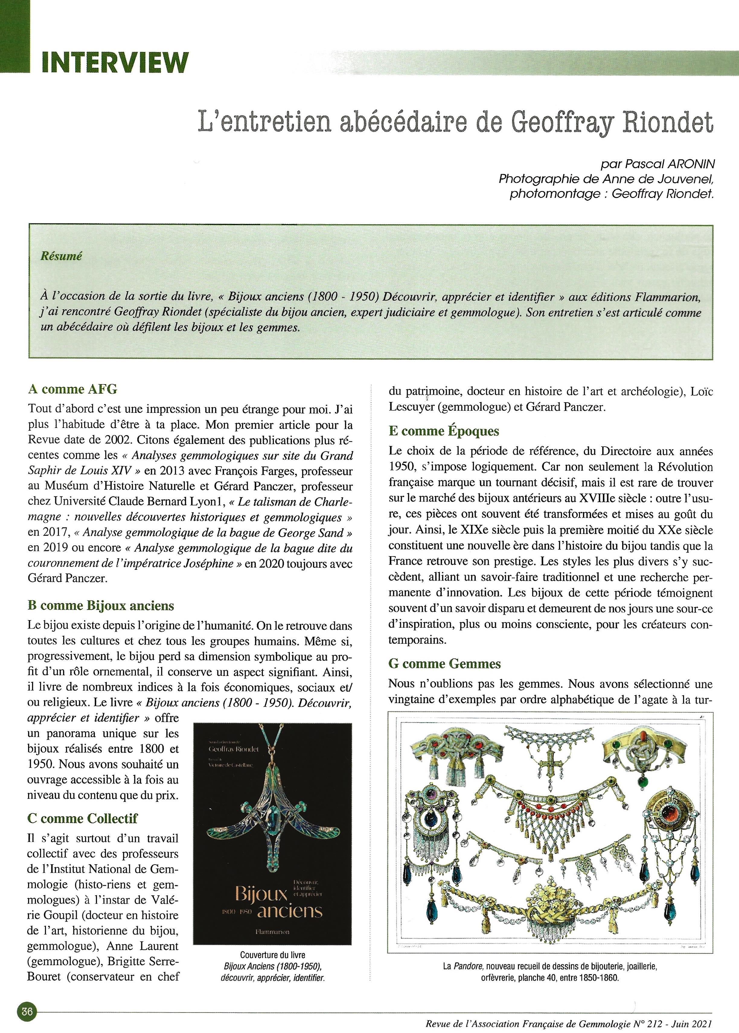 Entretien dans La Revue de Gemmologie AFG