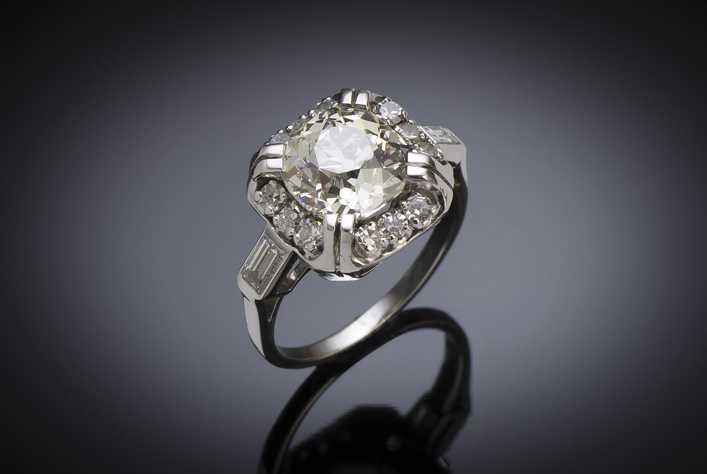 Bague Art déco diamants (4,30 carats dont diamant principal 3,38 carats, certificat LFG)-2