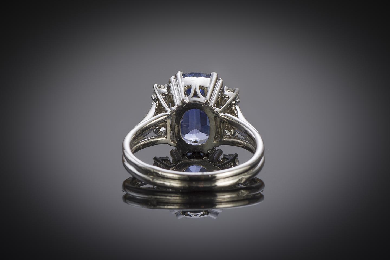 Bague vintage saphir naturel de 3,10 carats (certificat Laboratoire) diamants, vers 1950-2