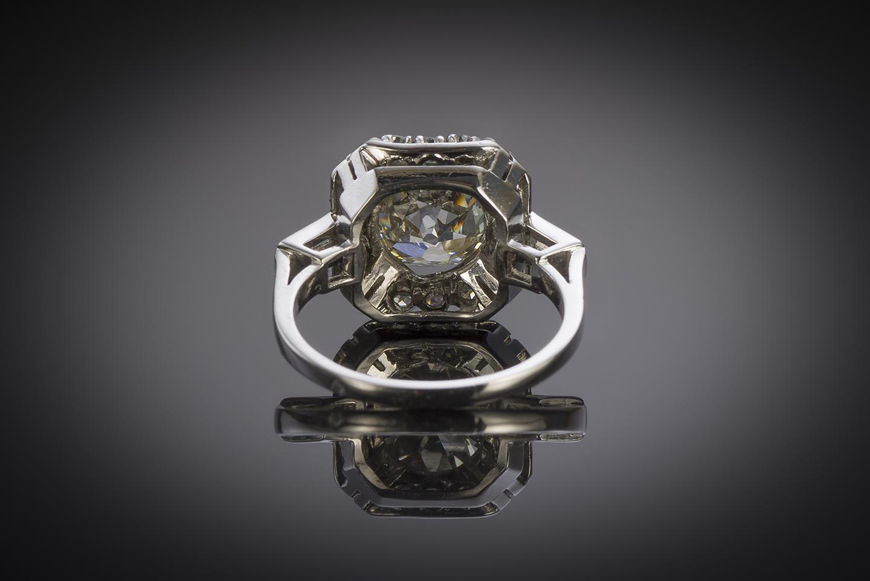 Bague Art déco diamants (4,30 carats dont diamant principal 3,38 carats, certificat LFG)-3