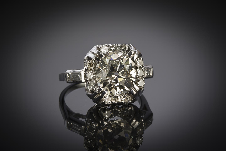 Bague Art déco diamants (4,30 carats dont diamant principal 3,38 carats, certificat LFG)-1