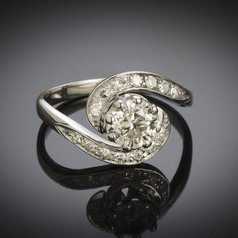 Bague vintage tourbillon diamant (principal 1,01 carat), vers 1950