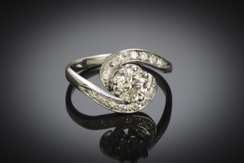 Bague vintage tourbillon diamant (principal 1,01 carat), vers 1950-1