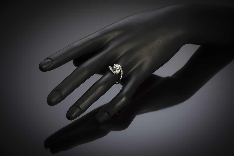Bague vintage tourbillon diamant (principal 1,01 carat), vers 1950-2