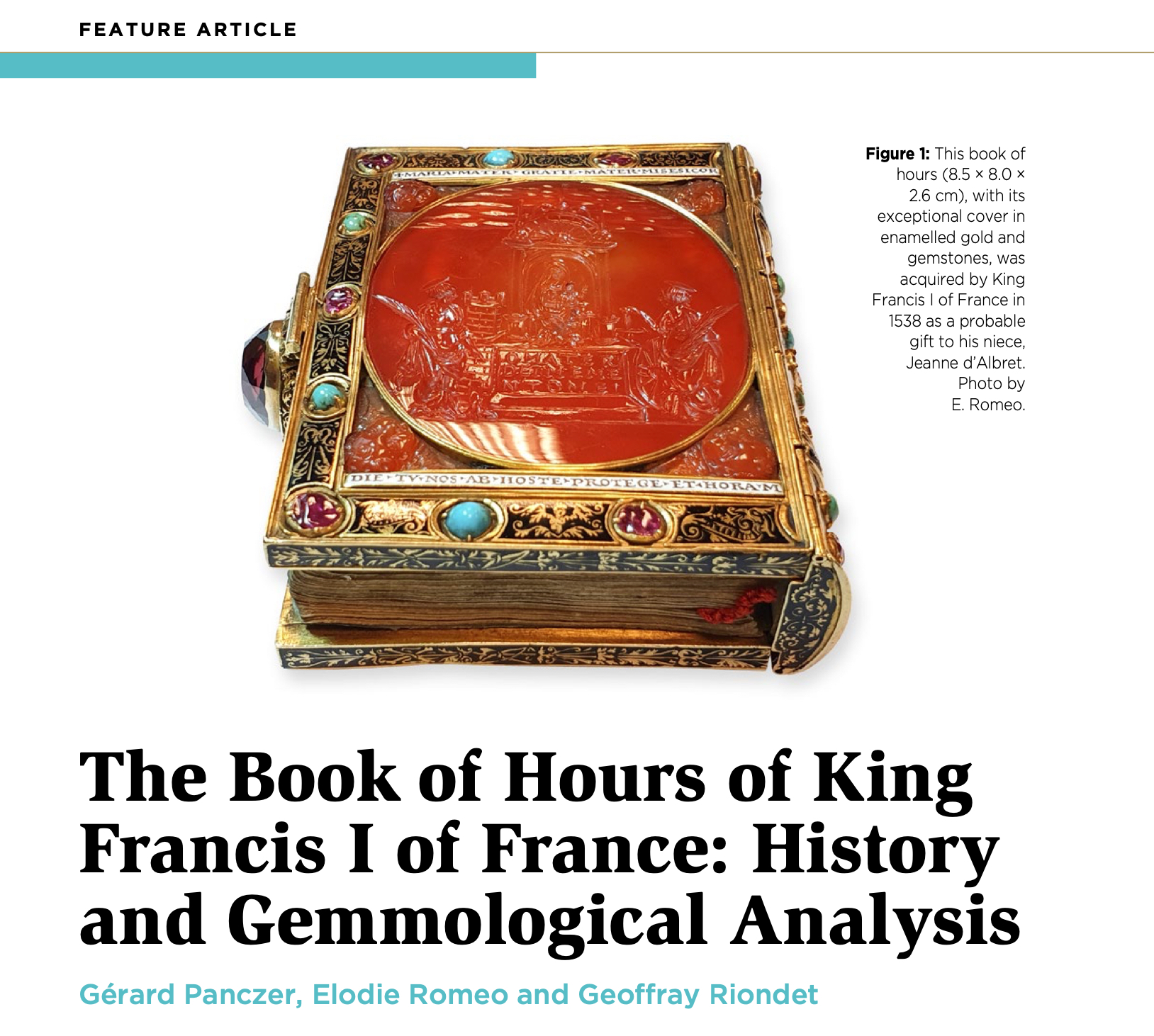 « The Book of Hours of King Francis I of France : History and Gemmological Analysis »