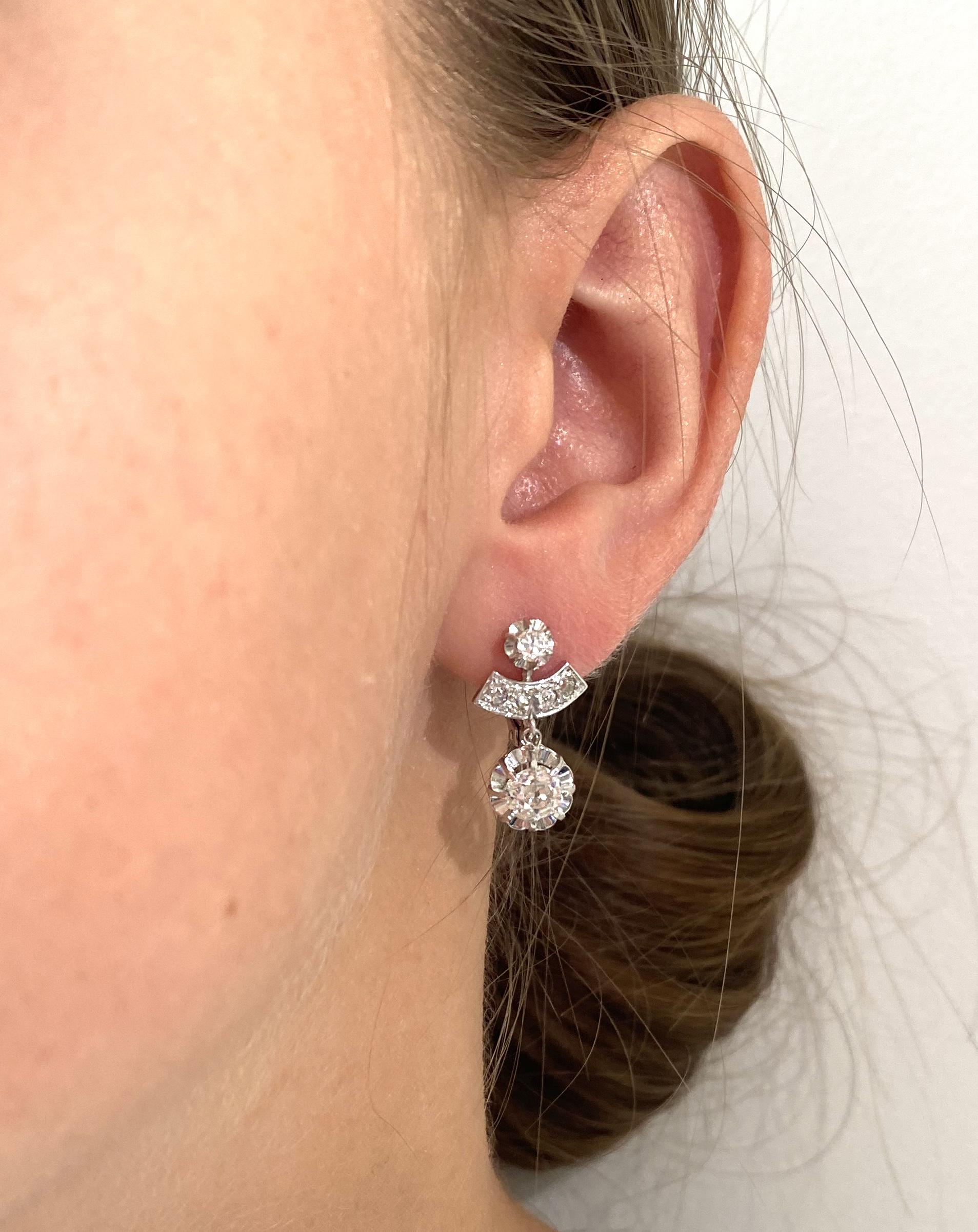 Boucles d'oreilles diamants (2 carats, principaux 2 x 0,75 carat) Art déco-2