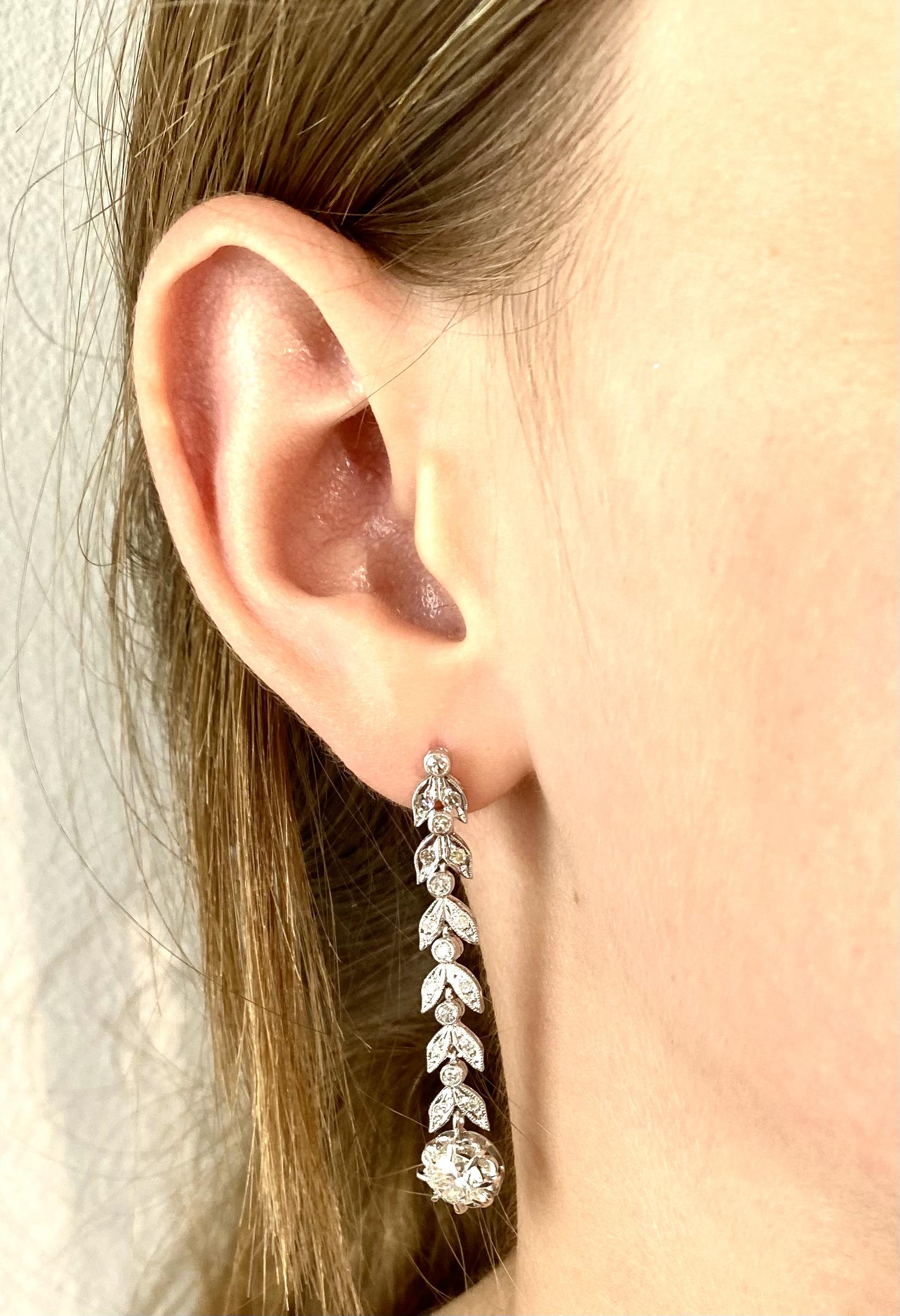 Pendants d'oreilles diamants (2 carats) vers 1935-2