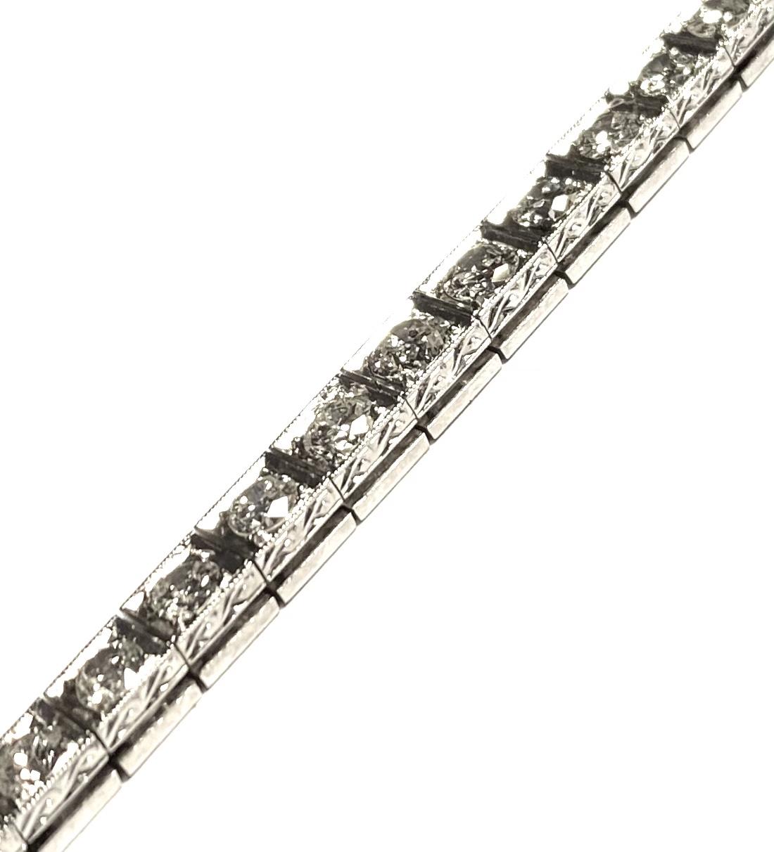 Bracelet Art déco diamants (4 carats) platine-2