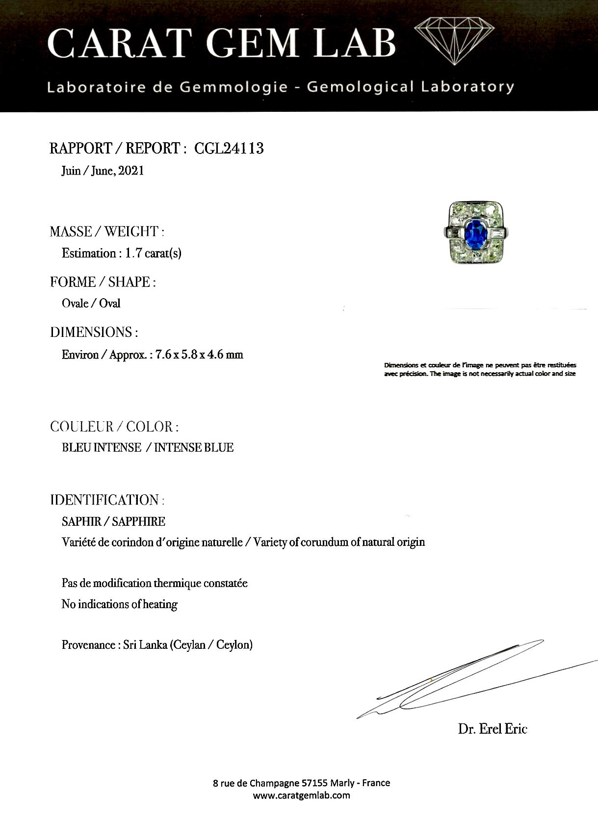 Bague Art déco saphir naturel, non chauffé bleu intense (certificat laboratoire CGL) diamants-5