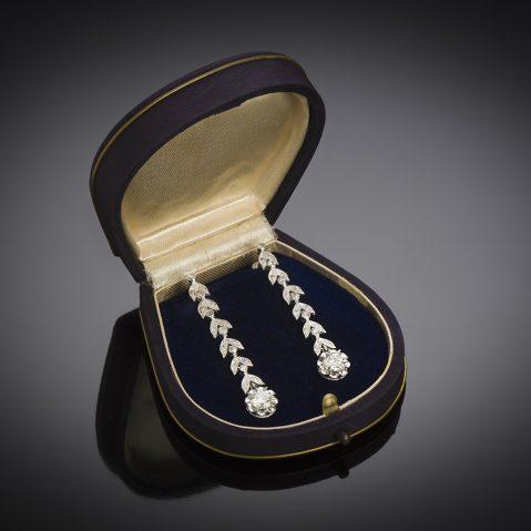 Pendants d'oreilles diamants (2 carats) vers 1935