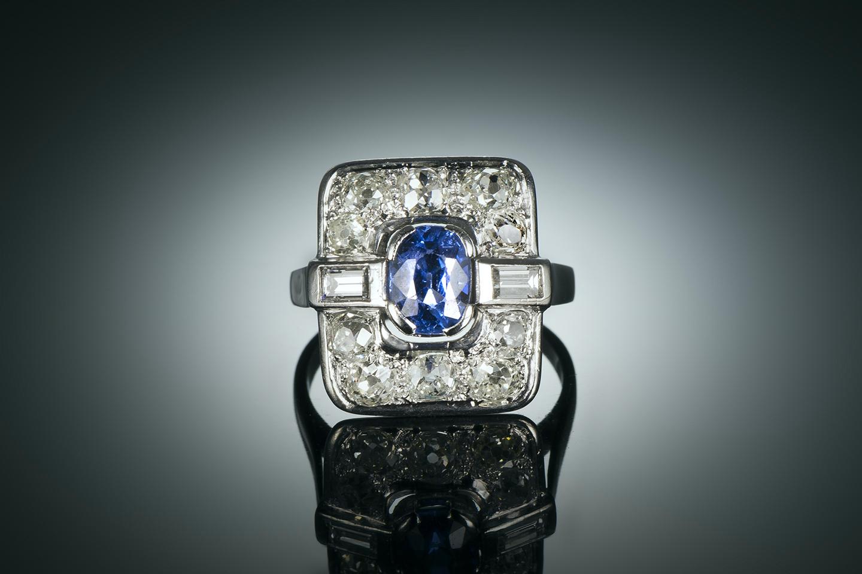 Bague Art déco saphir naturel, non chauffé bleu intense (certificat laboratoire CGL) diamants-2
