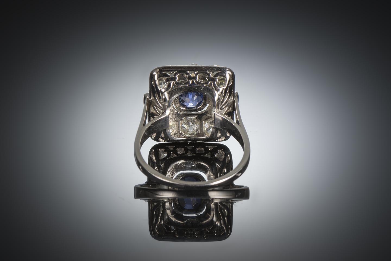 Bague Art déco saphir naturel, non chauffé bleu intense (certificat laboratoire CGL) diamants-3