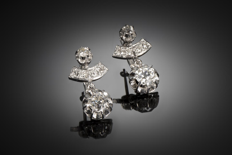 Boucles d'oreilles diamants (2 carats, principaux 2 x 0,75 carat) Art déco-1