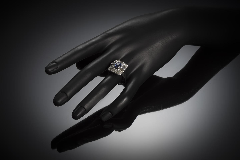 Bague Art déco saphir naturel, non chauffé bleu intense (certificat laboratoire CGL) diamants-4