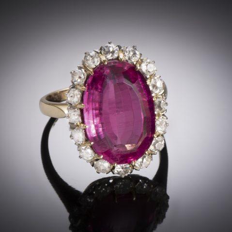 Bague tourmaline rose diamants début XXe siècle