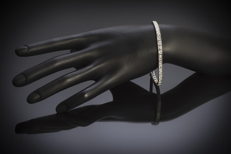 Bracelet Art déco diamants (4 carats) platine-3