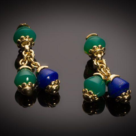 Boucles d'oreilles Fred vintage lapis-Lazuli, chrysoprase et rubis