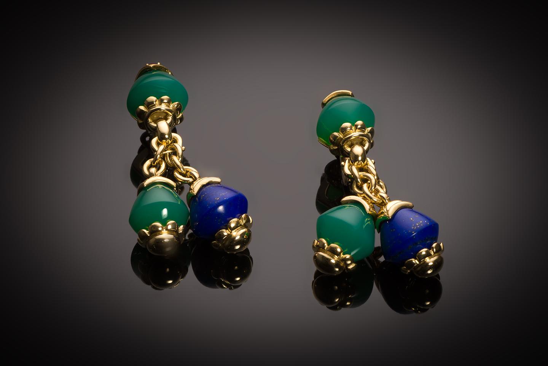Boucles d'oreilles Fred vintage lapis-Lazuli, chrysoprase et rubis-1