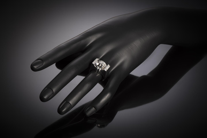 Bague moderniste vers 1935 diamants-2