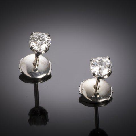 Boucles d'oreilles diamants (1 carat – Certificat GIA – Blanc exceptionnel +)