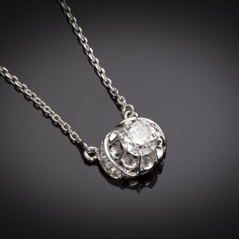 Pendentif et sa chaine diamants brillant (1 carat, principal 0,80 carat – certificat GIA – Blanc exceptionnel)