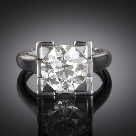 Bague diamant demi-taille 4,03 carats (certificat HRD) Art déco